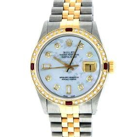 Rolex Mens Two Tone 14KT Yellow Gold Ruby And Diamond