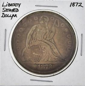 1872 $1 Liberty Seated Silver Dollar Coin