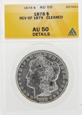 1878 $1 Morgan Silver Dollar Coin Rev of 1879 Cleaned