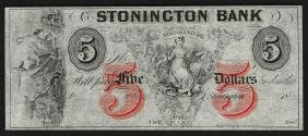 1800's $5 The Stonington Bank of Connecticut Obsolete