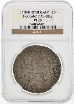 1599/8 Netherland 1 Lion Daalder Coin Holland DAV-8838