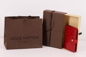 Authentic Louis Vuitton Red Vernis Monogram Agenda