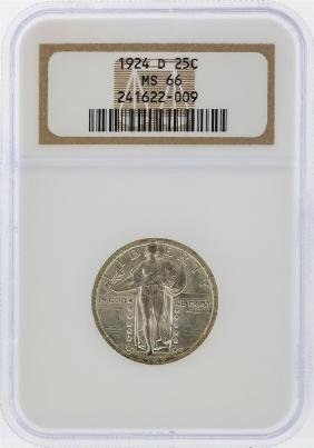 1924-D Standing Liberty Silver Quarter NGC Graded MS66