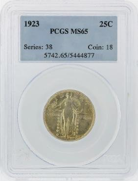 1923 Standing Liberty Silver Quarter PCGS Graded MS65