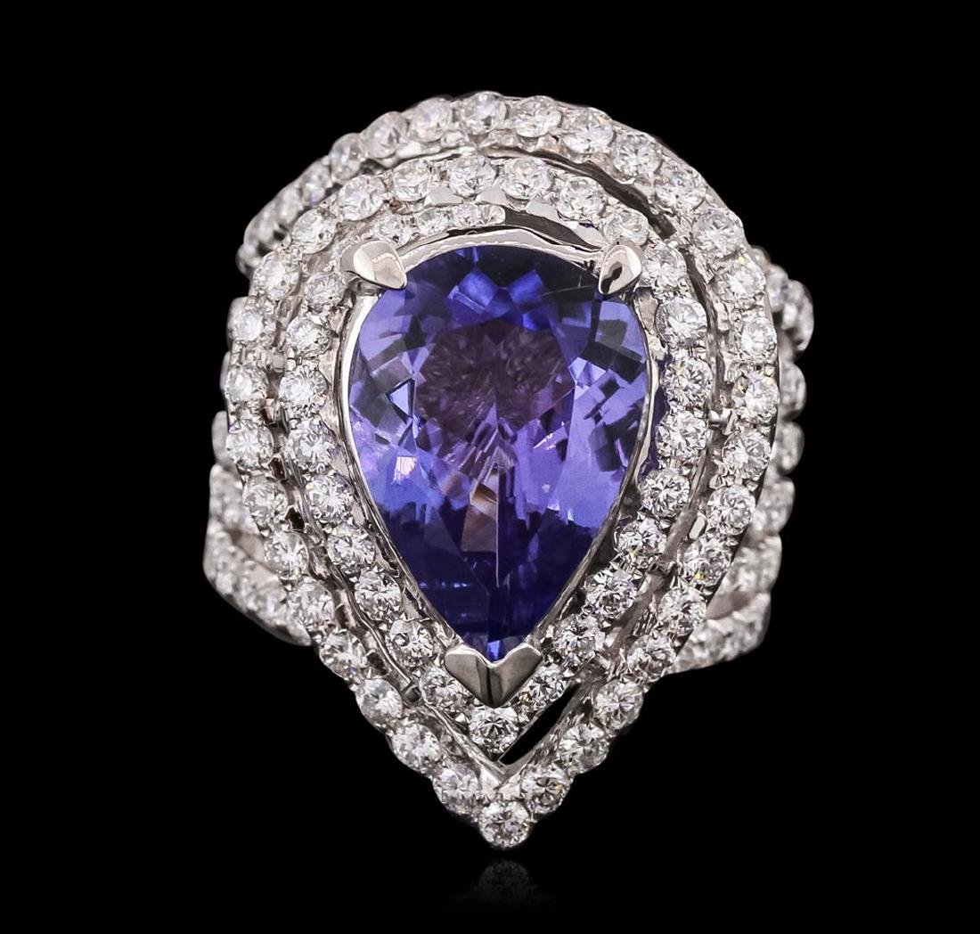18KT White Gold 6.53ct Tanzanite and Diamond Ring