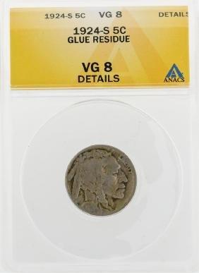 1924-S Buffalo Nickel Coin Glue Residue ANACS VG8