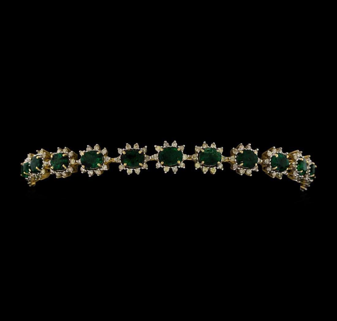 14KT Yellow Gold 6.49ctw Emerald and Diamond Bracelet