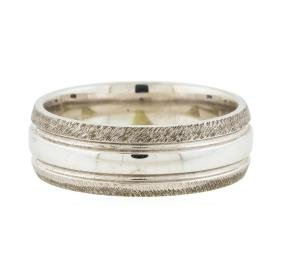 14KT White Gold Mens Wedding Band