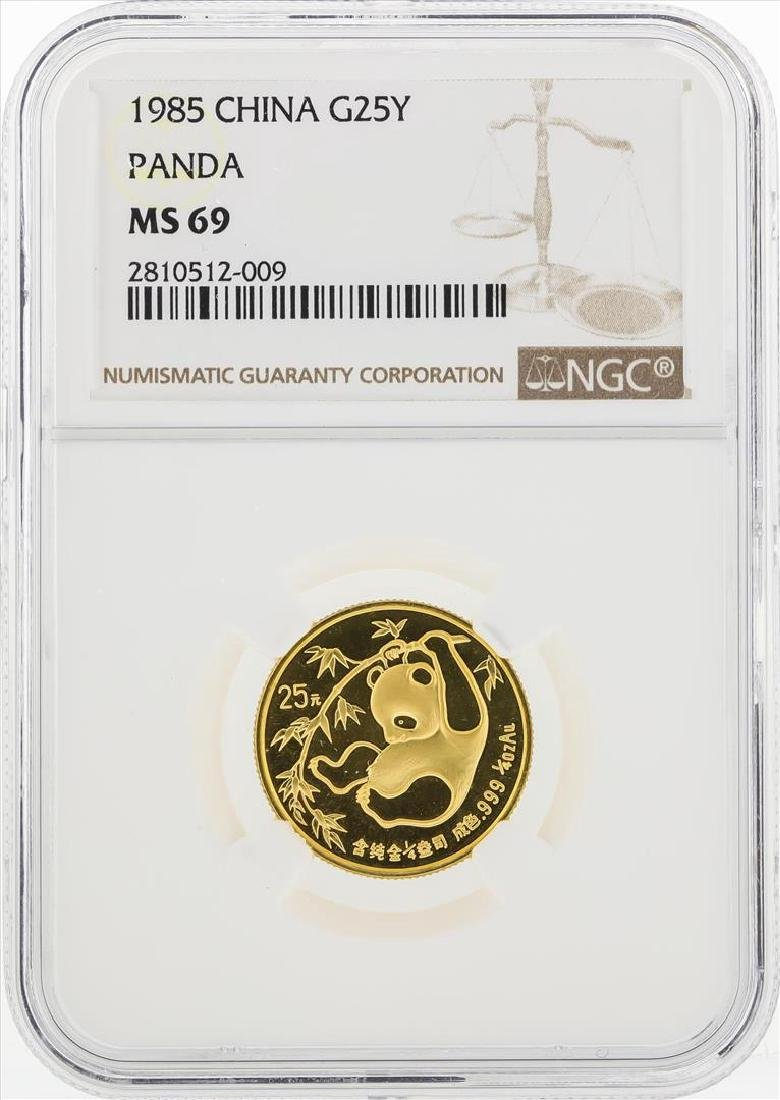 1985 25 Yuan China Gold Panda Coin NGC MS69
