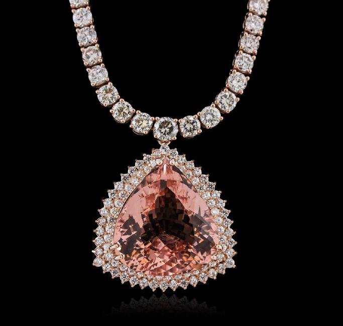 14KT Rose Gold GIA Certified 42.81ct Morganite and
