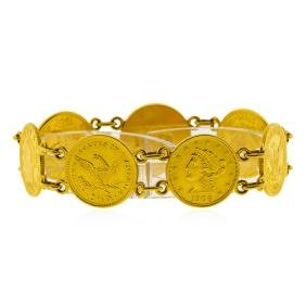 $2 1/2 Liberty Head Quarter Eagle Gold Coin Bracelet