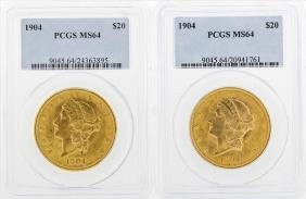 Lot of (2) 1904 $20 Liberty Head Double Eagle Gold