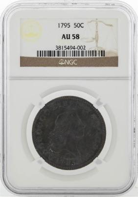 1795 Flowing Hair Half Dollar Coin NGC AU58