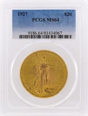 1927 $20 St. Gaudens Double Eagle Gold Coin PCGS Graded