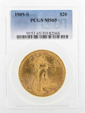 1909-S $20 St. Gaudens Double Eagle Gold Coin PCGS MS65