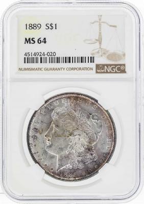 1889 $1 Morgan Silver Dollar Coin w/ Nice Toning NGC