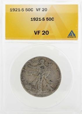 1921-S Walking Liberty Half Dollar Coin ANACS VF20