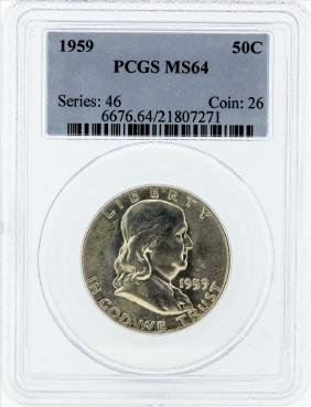 1959 Franklin Silver Half Dollar Coin NGC MS64