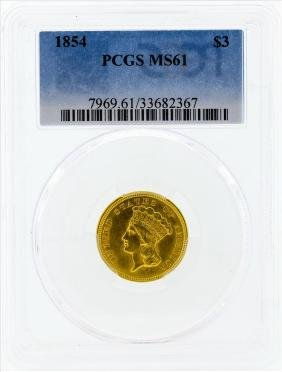 1854 $3 Indian Princess Head Gold Coin PCGS MS61