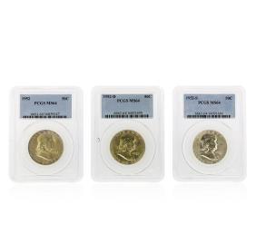 Set of (3) 1952-D-S Franklin Half Dollar Coins PCGS