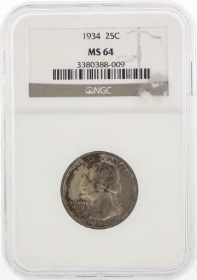 1934 Washington Silver Quarter Coin NGC MS64