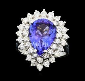 14KT White Gold 4.37ct Tanzanite and Diamond Ring