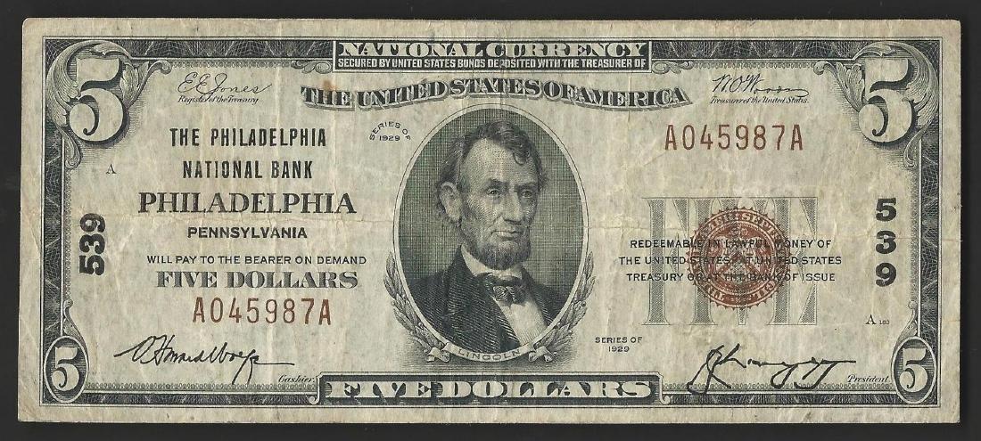 1929 $5 National Bank Note of Philadelphia Pennsylvania