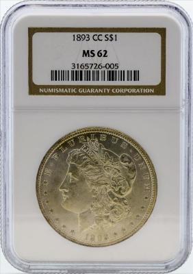 1893-CC $1 Morgan Silver Dollar Coin NGC MS62