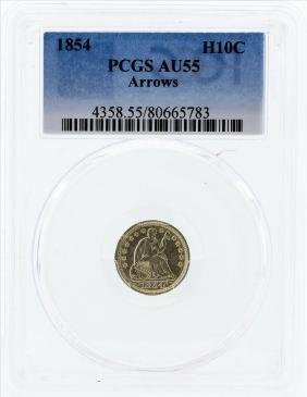 1854 Seated Liberty Half Dime Coin PCGS AU55 Arrows