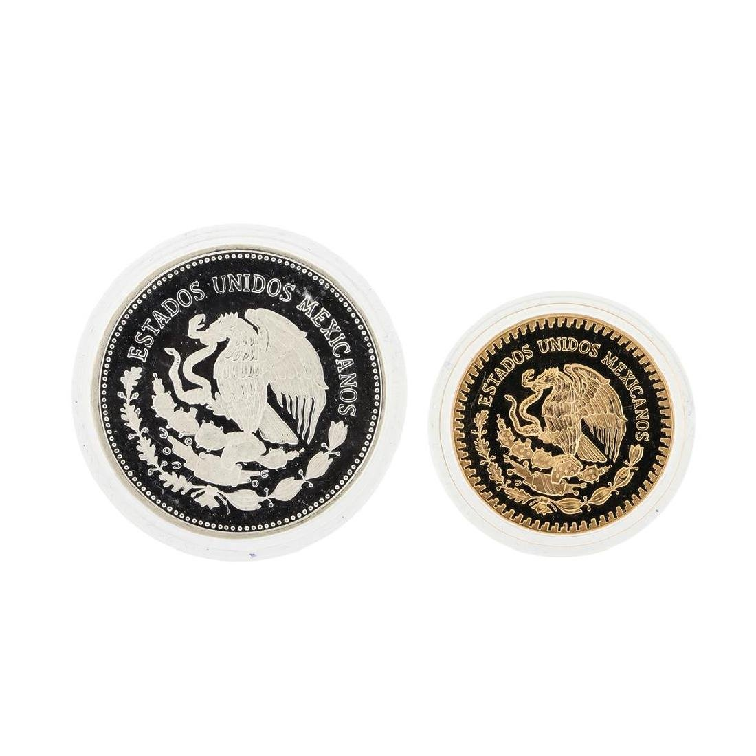 1985 Banco de Mexico Gold & Silver Proof (2) Coin Set - 2
