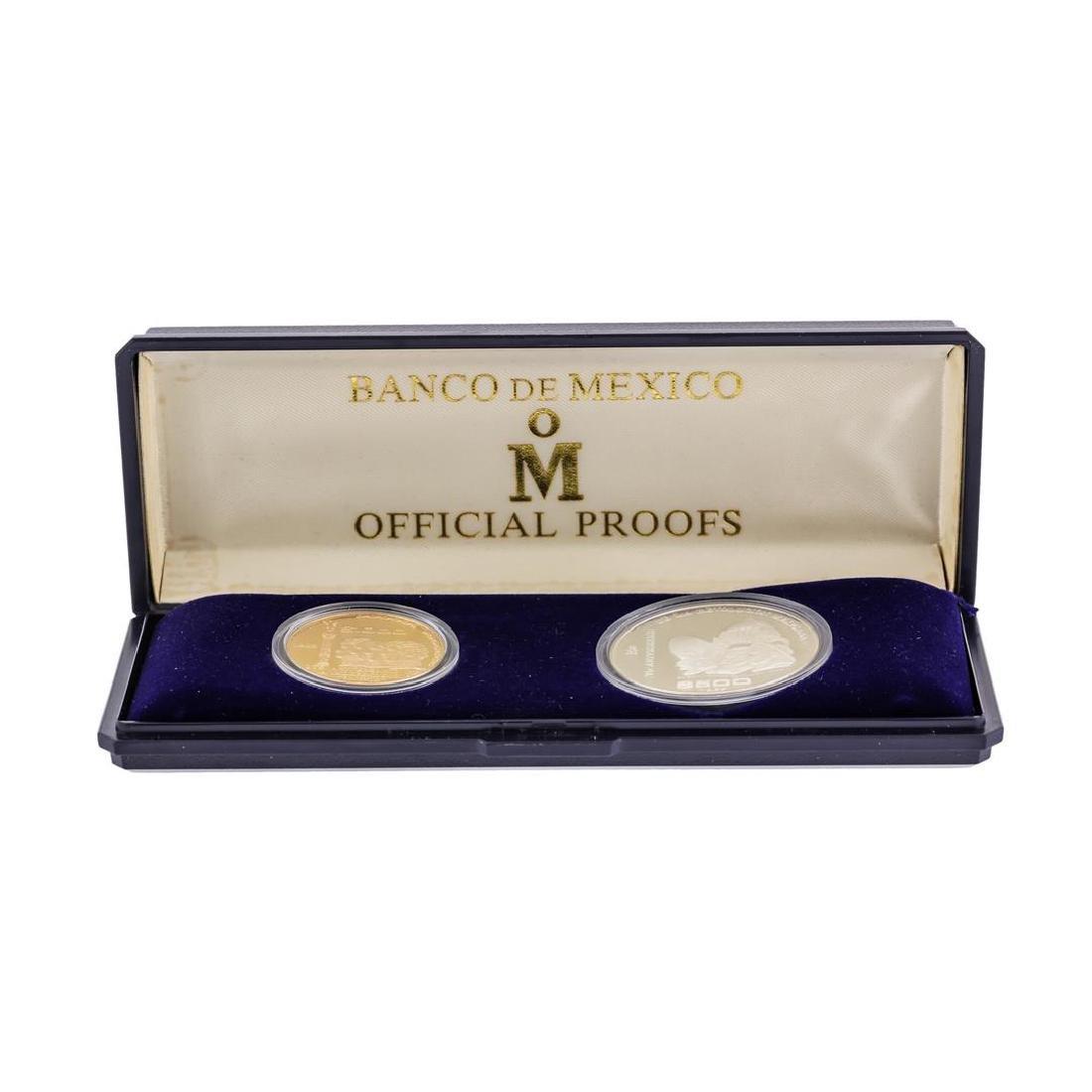 1985 Banco de Mexico Gold & Silver Proof (2) Coin Set - 4
