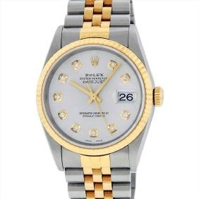 Rolex Mens 18KT Two Tone DateJust Wristwatch