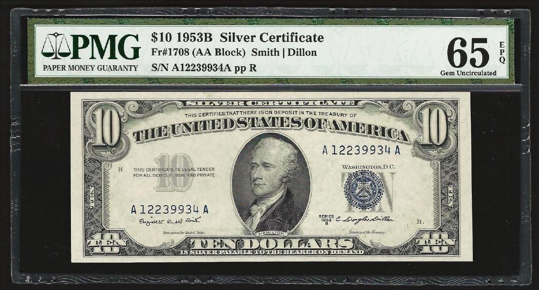 1953B $10 Silver Certificate Note PMG 65EPQ