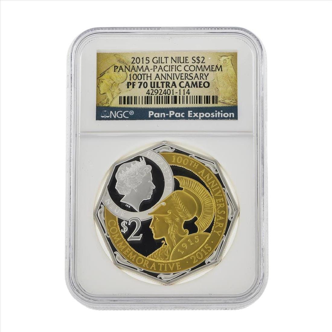 2015 Gilt Niue $2 Panama Pacific Commemorative Coin NGC