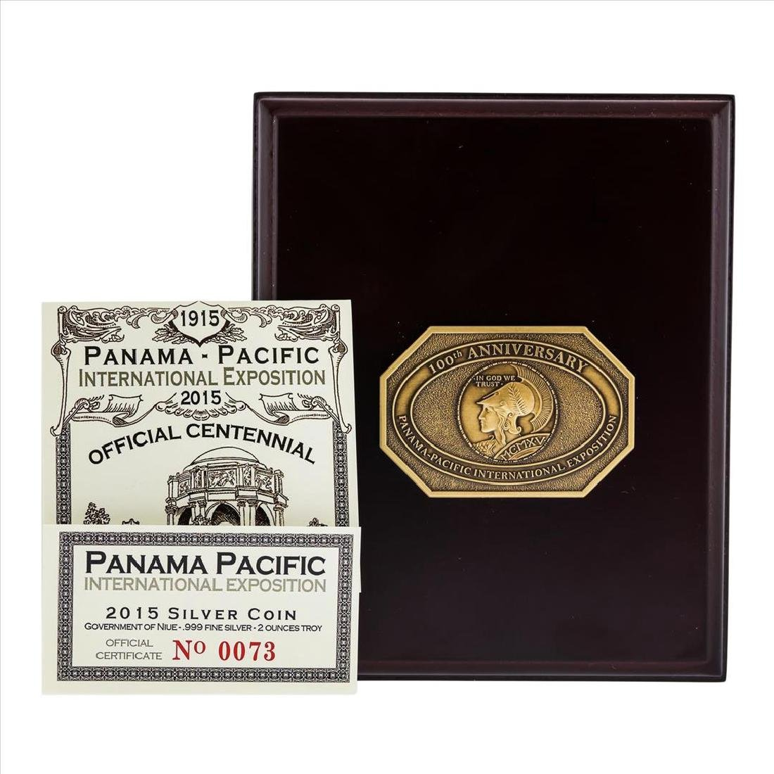 2015 Gilt Niue $2 Panama Pacific Commemorative Coin NGC - 3