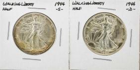 1944-S & 1944-D Walking Liberty Half Dollar Silver