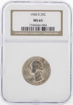 1946 Washington Silver Quarter Coin NGC MS65