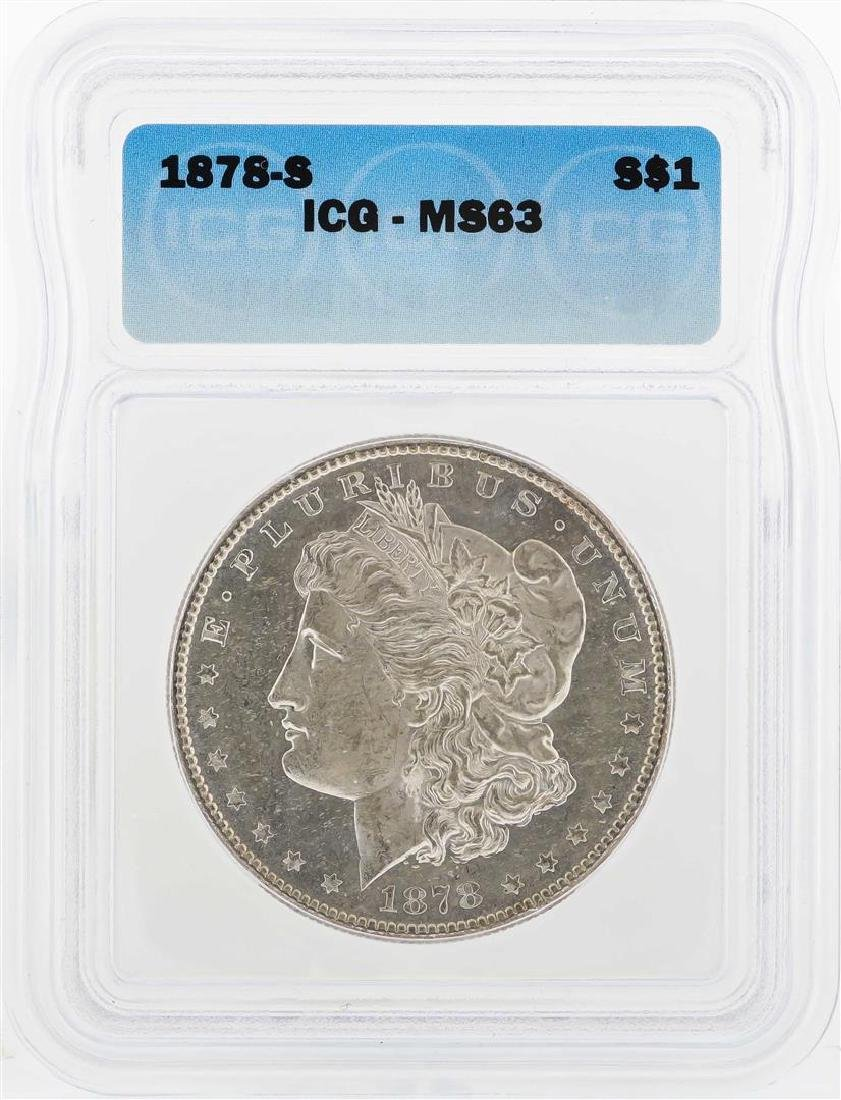1878-S $1 Morgan Silver Dollar Coin ICG MS63