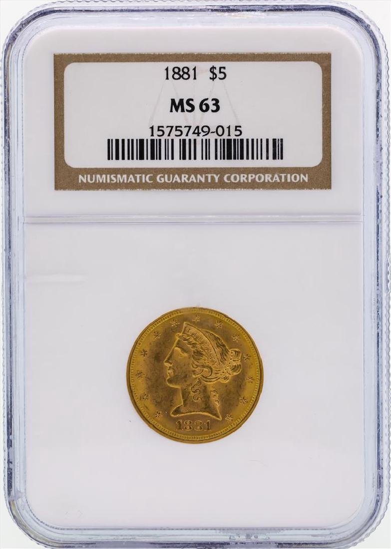 1881 $5 Libertry Head Half Eagle Gold Coin NGC MS63