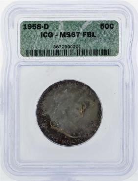1958-D Franklin Half Dollar Coin ICG MS67 FBL