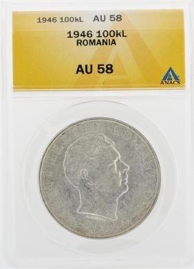 1946 100000 Lei Romania Coin ANACS AU58