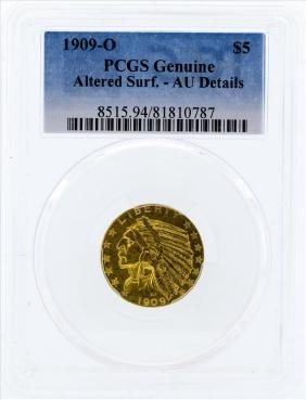1909-O $5 Indian Head Half Eagle Gold Coin PCGS Altered