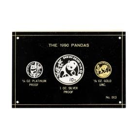 1990 Panda Premier Tri Metallic Coin Set