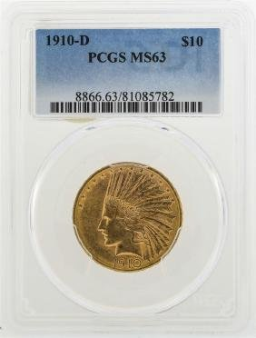 1910-D $10 Indian Head Eagle Gold Coin PCGS MS63