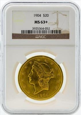 1904 $20 Liberty Head Double Eagle Gold Coin NGC MS63+