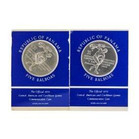 Set of (2) 1970 Republic of Panama 5 Balboas Silver