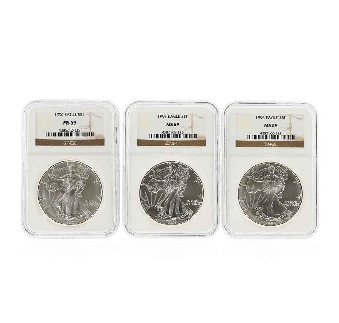 1993-1998 $1 American Silver Eagle Coin Set NGC MS69 - 3