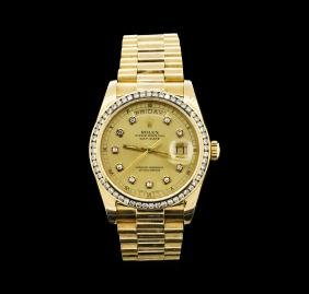 Mens 18KT Yellow Gold Rolex 1.65ctw Diamond DayDate