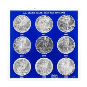 Set of 1986-1994 $1 American Silver Eagle Coins