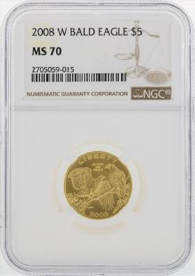 2008 W Bald Eagle $5 Gold Coin NGC MS70